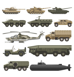 Military transport and army wartime machines vector