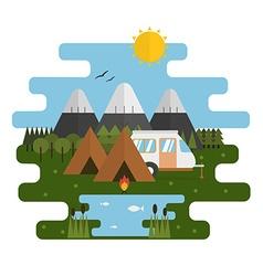 Mountain lake camp ecological landscape vector