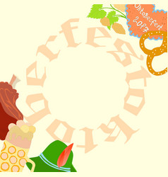oktoberfest flyer with frame made of letters vector image
