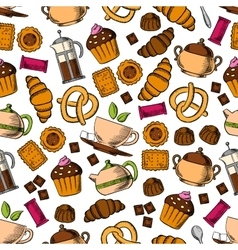 Pastries sweets with tea drinks seamless pattern vector image