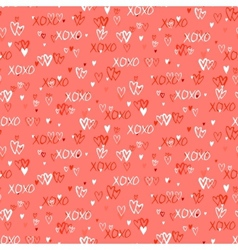 Pattern with hand painted hearts vector image vector image