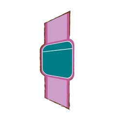Pink smart watch wearable modern device vector