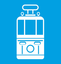 Tram front view icon white vector