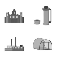Travel oil refining and other monochrome icon in vector