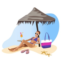 tropical relax girl vector image vector image