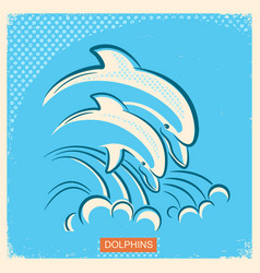 Two dolphins retro of parent and vector