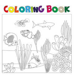 Underwater world coloring page for kids vector