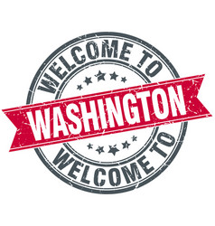 Welcome to washington red round vintage stamp vector