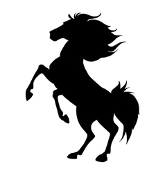 Black horse prancing silhouette vector