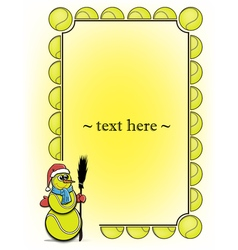 Frame with tennis ball and snowman vector image