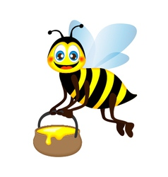 Cute bright funny bee carrying a jar of honey vector