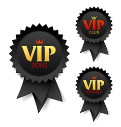 Vip zone club and member labels vector