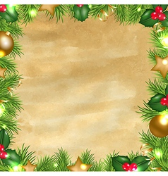 Vintage paper background with christmas border vector