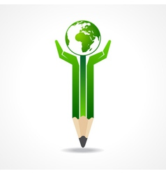 Save earth concept with pencil hands vector