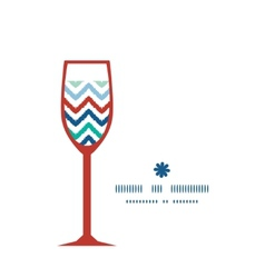 Colorful ikat chevron wine glass silhouette vector