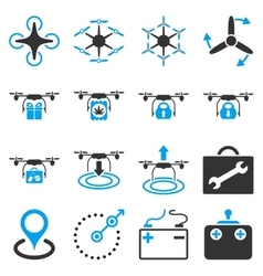 Air copter flat icon set vector