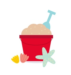 Cute beautiful sand pail isolated on white vector