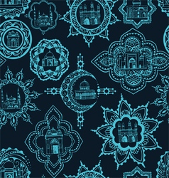 Seamless background with asian designs vector