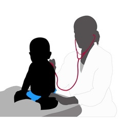 Pediatrician examining of baby with stethoscope vector