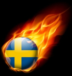 Round glossy icon of sweden vector
