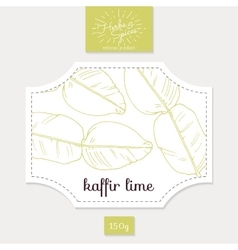 Product sticker with hand drawn kaffir lime leaves vector