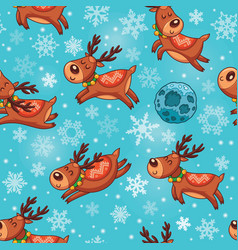 Christmas deers in cartoon seamless pattern vector