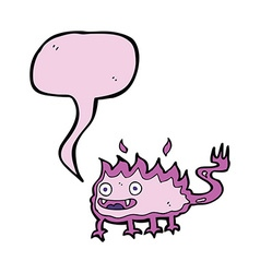 Cartoon little fire demon with speech bubble vector