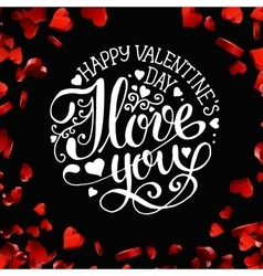 Valentines day lettering greeting card vector