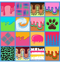 Colored seamless pattern drips background set vector