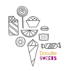 Hand drawn icon set of cookies chocolates cakes vector