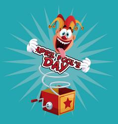 april fools day fun jester box surprise vector image vector image