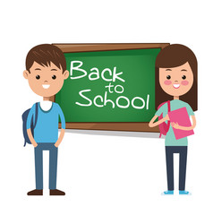 Back to school girl boy pupil backpack books vector