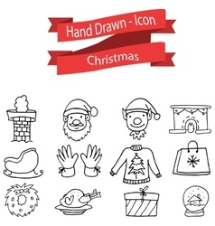 Christmas icon set hand draw vector