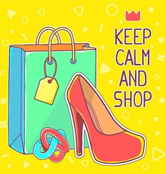 colorful of red womens shoes and green shop vector image