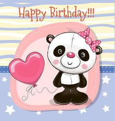 cute cartoon panda with balloon vector image