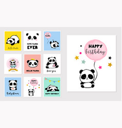 Cute panda bear collection of colorful simple vector