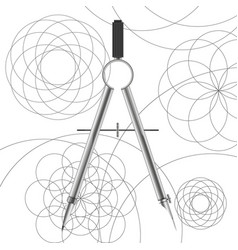 Drawing compasses and drawn circles vector