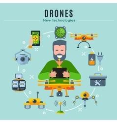 Drones colored composition vector