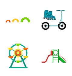 ferris wheel with ladder scooter playground set vector image