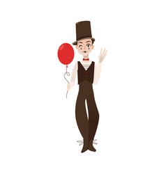 Flat mime clown in top hat with balloon vector
