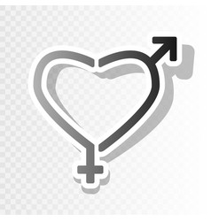 Gender signs in heart shape new year vector