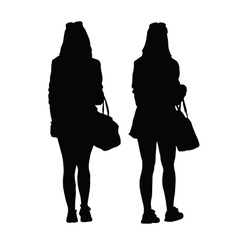 girl with purse silhouette black vector image vector image
