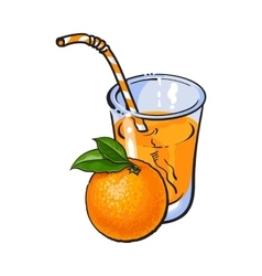 Glass of freshly squeezed juice with a whole vector image