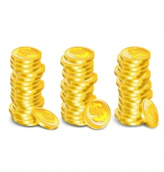 gold coins stacks vector image vector image