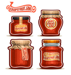 Grapefruit jam in glass jars vector