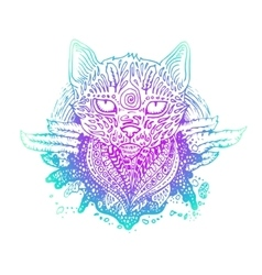 Graphic colored cat vector