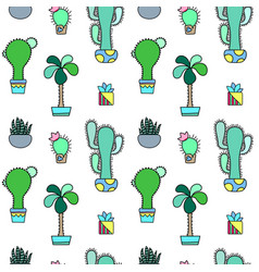 Green cactus seamless pattern on white vector