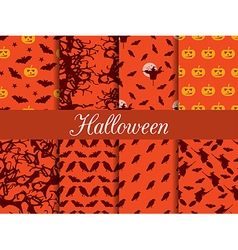 Halloween seamless patterns set vector image