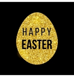 Happy Easter golden card vector image