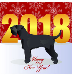 Happy new year card with schnauzer vector